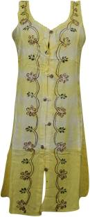 Indiatrendzs Women's Shift Yellow Dress