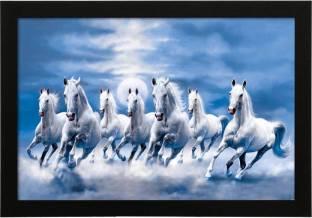 Fantasy Gifts Vastu Seven Horse White Digital Reprint 12 Inch X 18
