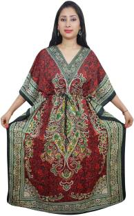 Indiatrendzs Floral Print Light Viscose Women's Kaftan
