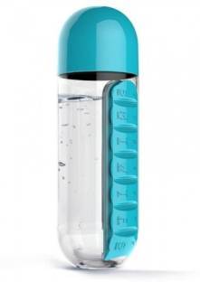 INFInxt Water Bottle with Built-in Daily Pill & Vitamins Box Organizer Pack of 1 750 ml Bottle