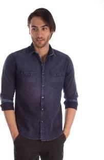 Suspense Men Solid Casual Dark Blue Shirt - Buy Suspense Men Solid ...