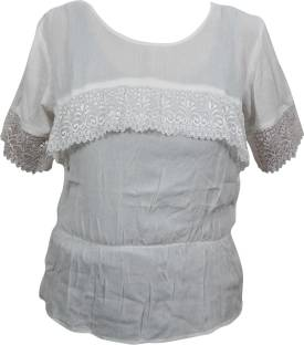 Indiatrendzs Casual Half Sleeve Solid Women White Top