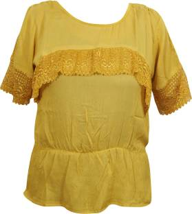 Indiatrendzs Casual Half Sleeve Solid Women Yellow Top