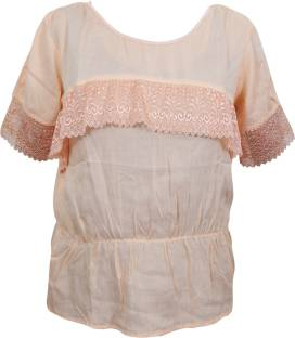 Indiatrendzs Casual Half Sleeve Solid Women Beige Top