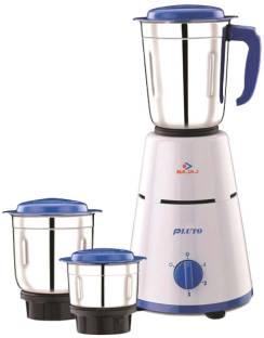 BAJAJ 3 Jar Pluto 500 W Mixer Grinder (3 Jars, White, Blue)