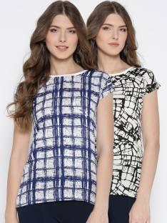 U&F Casual Short Sleeve Checkered Women Dark Blue, White, Black Top