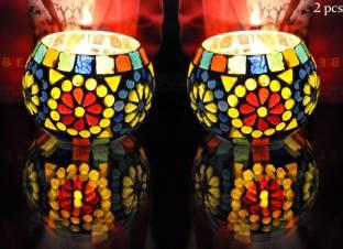 967e10dd8adfe Lal Haveli Home Decorative Night Lamp tea light Stand Glass Candle Holder  Set