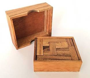 RATREE SHOP Handmade Wooden Wine Bottle Puzzle A Wood