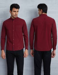 Metronaut Men Solid Casual Maroon Shirt