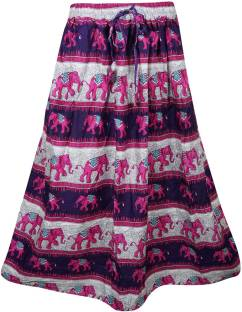 Indiatrendzs Printed Women's A-line Pink, Blue Skirt