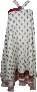 Indiatrendzs Printed Women Wrap Around White Skirt