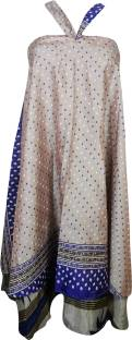 Indiatrendzs Printed Women Wrap Around Beige Skirt