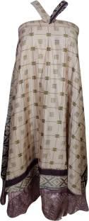 Indiatrendzs Printed Women Wrap Around Beige Skirt