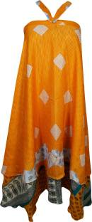 Indiatrendzs Printed Women Wrap Around Orange Skirt