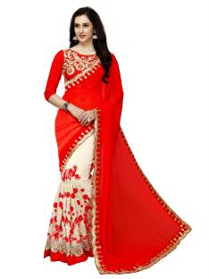 Glory Sarees Embroidered, Embellished Bollywood Faux Georgette Saree