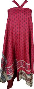 Indiatrendzs Printed Women's Wrap Around Pink, Maroon Skirt