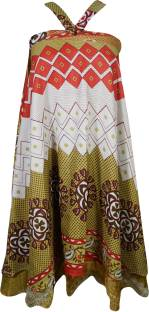 Indiatrendzs Printed Women's Wrap Around Red, Green Skirt