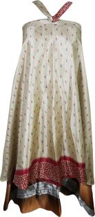 Indiatrendzs Printed Women's Wrap Around Beige, Brown Skirt