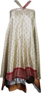 Indiatrendzs Printed Women's Wrap Around Beige, Brown Skirt