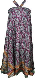 Indiatrendzs Printed Women's Wrap Around Pink, Green Skirt
