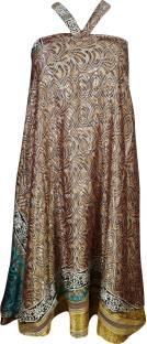 Indiatrendzs Printed Women's Wrap Around Brown Skirt