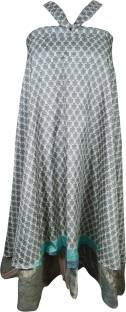 Indiatrendzs Printed Women's Wrap Around White, Grey Skirt