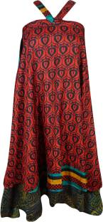 Indiatrendzs Printed Women's Wrap Around Red, Maroon Skirt