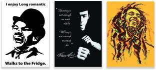 Bob Marley ,Bruce Lee , Charlie Chaplin Combo Set Of 3 Motivational