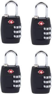 DOCOSS Set Of 4-TSA Approved 3 Digit USA luggage Bag Number Padlock For Travelling International Safety Lock