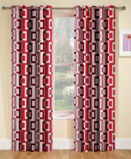 optimistic home furnishing polyester red floral eyelet door curtain