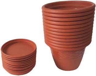 2fc414fe8 siti plast 10 inch Heavy Duty Plastic Garden Planters With Bottom Tray (Pack  of 12