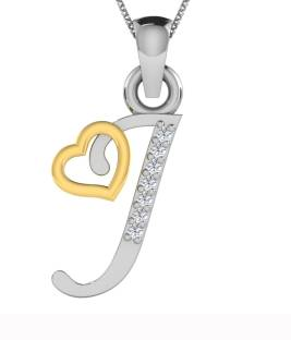 Kataria Jewellers Letter J Alphabet Initial American Diamond Studded 92.5  BIS Hallmarked Silver Pendant 8de0a1fa5a6