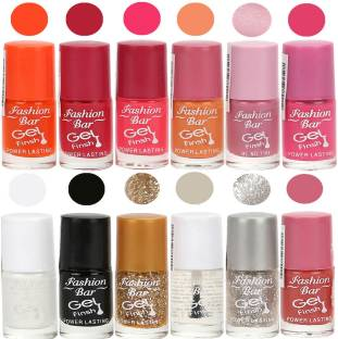 Fashion Bar Exclusive Color Range Nail Polish Set Of 12 Orange Pink White
