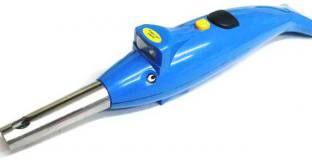 PREMIUM E COMMERCE Kitchen Electronic Gas Lighter 2 In 1 Dolphin Shape With Led Torch Plastic Gas Lighter