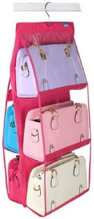 Xeekart 6 Pocket Purse Organizer Hanging Handbag Wardrobe Organizer Closet Tidy Closet Organizer Wardrobe Rack Hangers Holder For Fashion Handbag Purse Pouch Handbag Organizer