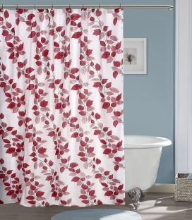 Yellow Weaves PVC Red Floral Ring Rod Shower Curtain