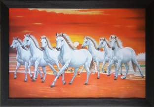 Art Collection Seven 7 White Running Horses Ink 13 Inch X 19