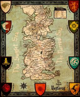 Game of thrones map paper print maps posters in india buy art seven kingdoms of westeros map game of thrones collection premium quality poster paper print gumiabroncs Gallery