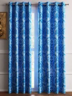 Flipkart SmartBuy Polyester Dark Blue Self Design Eyelet Door Curtain
