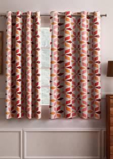 Flipkart SmartBuy Polyester Red Geometric Eyelet Window Curtain