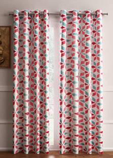 Flipkart SmartBuy Polyester Pink Geometric Eyelet Door Curtain