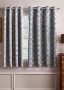 Flipkart SmartBuy Polyester Light Blue Motif Eyelet Window Curtain