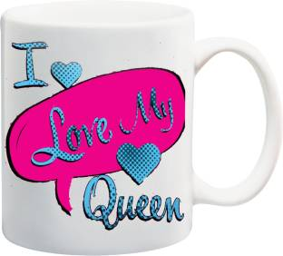 meyou i love my queen printed ceramic mug
