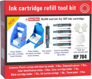 Red Star ink refill tool kit for hp 704 cartridge Multi Color Ink Cartridge