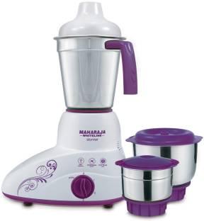 MAHARAJA WHITELINE Stunner MX-168 500-Watt Mixer Grinder with 3 Jars (Purple/White) 500 W Mixer Grinde...
