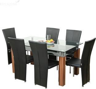 RoyalOak Iris Glass 6 Seater Dining Set