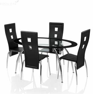 RoyalOak Roger Glass 4 Seater Dining Set
