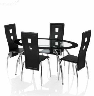 royaloak roger glass 4 seater dining setdining table sets buy dining table set online at best prices