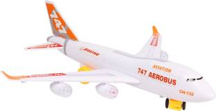 Toyvala Musical AeroPlane Airbus Bump & Go Action with Sound & Lighting Gift Toy for Kids