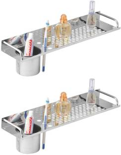 KAMAL Stainless Steel Straight Shelf with Tumbler (Set of 2) Stainless Steel Wall Shelf